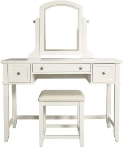Crosley Furniture Vista Vanity and Mirror with Stool, White