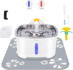 Pet Fountain with 3 Carbon Filters, 1 Foam Filter 1 Mat and 2 Cleaning Brushes, Water Level Window with LED Light 85 oz/2.5L