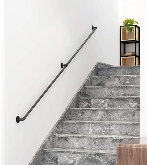DIYHD 10FT Stair Black Pipe Handrail with 3 Wall Mount Supports,Rustic Black,Round Corner Style