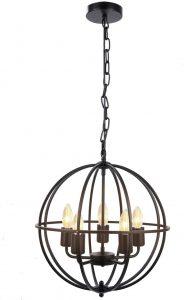 best chandeliers brands Industrial Vintage Lighting Ceiling Chandelier, 5 Lights Metal Hanging Fixture