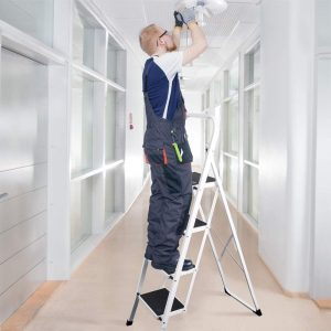 Anti-Slip Sturdy and Wide Pedal 300lbs Portable Steel Step Ladder