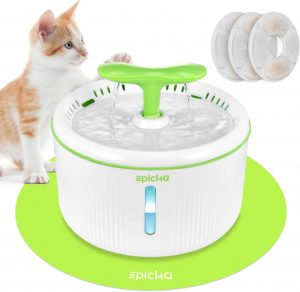3 Triple-Action Filters and 1 Silicone Mat, BPA-Free Automatic Dog Water Dispenser