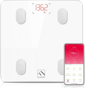 Smart Wireless BMI Bathroom Weight Scale Body Composition Monitor Health Analyzer with Smartphone App for Body Weight, Fat, Water, BMI, BMR, Muscle Mass - White