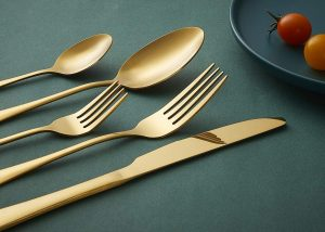 Heavy-duty Stainless Steel Utensils Include Knife/Fork/Spoon, Mirror Finish, Dishwasher Safe, Service for 4 (Gold)
