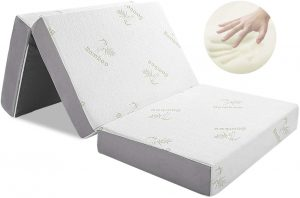 Tri-fold Mattress with Ultra Soft Removable Bamboo Cover Washable, Non-Slip Bottom & Breathable Mesh Sides - Full 4-Inch