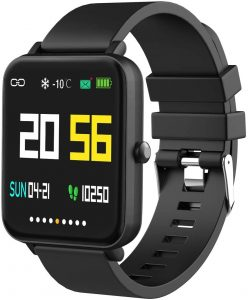 "Smartwatch with 1.54"" Full-Touch Color Screen, Heart Rate & Sleep Monitor, Gun"