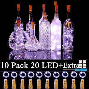 Forthcan 10 Pack Wine Bottle Lights with Cork-20 Led Battery