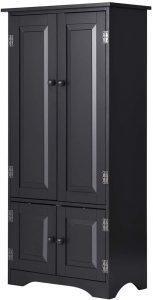 Giantex Accent Floor Storage Cabinet Adjustable Shelves Antique 2-Door Low Floor Cabinet Pantry