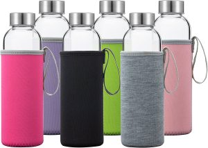 Glass Water Bottles 6 Pack Deluxe Set 18oz - Includes 6 Sleeves. Stainless Steel Lids