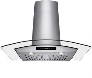 Wall Mount Range Hood With LED, Touch Control Panel and Baffle Filters