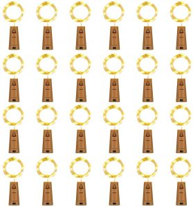 HAOSEE 24 Pack 20 Led Wine Bottle Lights with Cork