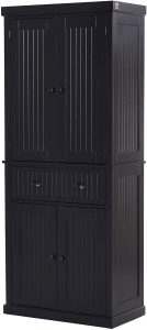 """HOMCOM 72"""" H Traditional Colonial Freestanding Kitchen Pantry Cupboard Cabinet"""