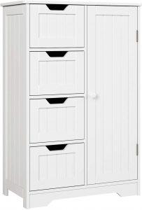 HOMFA Bathroom Floor Cabinet, Wooden Side Storage Organizer Cabinet