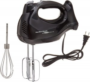 Hamilton Beach 6-Speed Electric Hand Mixer with Snap-On Case, Beaters, Whisk, Black