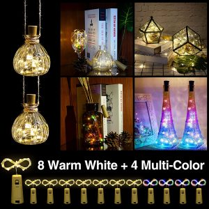 Helian Wine Bottle Lights with Cork,DIY String Light Ornaments for Tables