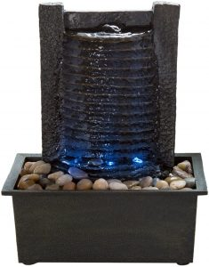 Lighted Waterfall Tabletop Fountain With Stone Wall and Soothing Sound for Office and Home Décor
