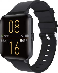 "Smartwatch with 1.54"" Touch Screen, Pedometer, Heart Rate, Sleep Monitoring, Weather Forecast (Black)"
