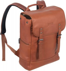 Leather Single Compartment Flap-over Backpack