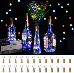 LEDIKON 24 Pack 20 Led Colored Wine Bottle Lights with Cork