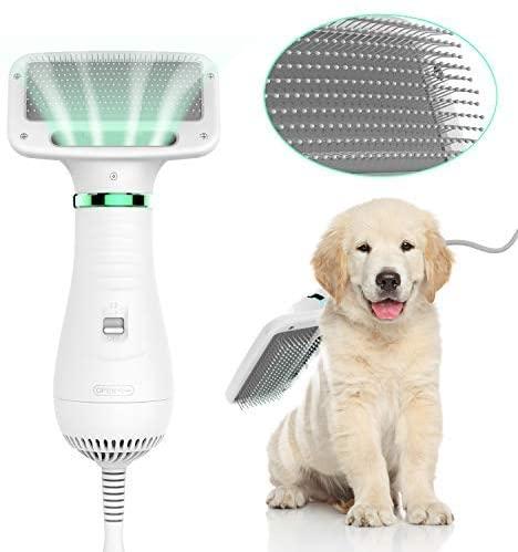 LIVEKEY Pet Hair Dryer, 2 in 1 Home Pet Grooming Hair Dryer with Slicker Brush