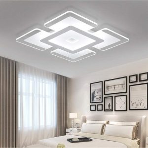 Nordic Ultrathin Close to Ceiling Light Indoor Square Acrylic Chandelier for Living Room, Bedroom & Dining Room