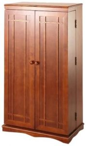 Leslie Dame Solid Oak Multimedia Storage Cabinet with Classic Mission Style Doors, Walnut