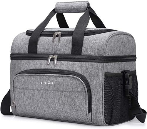Leakproof Soft Cooler Portable Double Decker Cooler Tote for Beach/Picnic/Sports, Grey