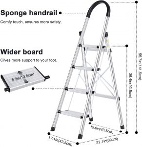 Portable Lionladder 4 Step Stool Aluminum Ladder | Folding Anti-Slip with Rubber Hand Grip 330lbs Capacity