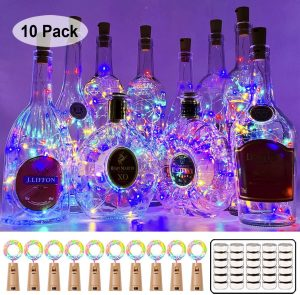 MUMUXI 10 Pack 20 LED Wine Bottle Lights with Cork,