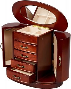 wooden tabletop jewelry box