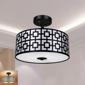 Entry Light Fixtures Ceiling Hanging for Dining Room, Kitchen, Hallway, Entry, Foyer, Living Room, 3-Lights-Black Finish