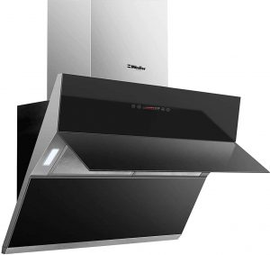 Black Tempered Glass LED Touch Control Oven Range Hood Vent Cooking Fan