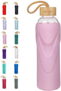 Origin Best BPA-Free Borosilicate Glass Water Bottle with Protective Silicone Sleeve and Bamboo Lid