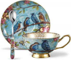 Porcelain Gold Rimmed Teacup Coffee, Flower and Birds