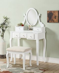 Roundhill Furniture Ashley Wood Make-Up Vanity Table and Stool Set, White