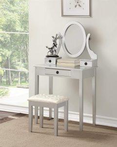 Roundhill Furniture Moniys Wood Moniya Makeup Vanity Table and Stool Set, Silver
