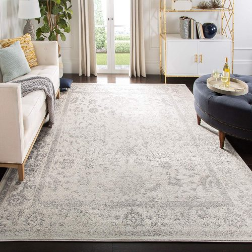 Safavieh Adirondack Collection ADR109C Ivory/Silver Vintage Oriental Distressed Area Rug