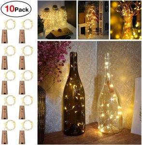 Sanniu Bottles Lights, 10 PacksCork Copper Starry Wine Bottle Fairy Lights for Bottle