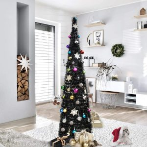 Collapsible Pencil Halloween Christmas Trees Features Sequins Accents for Apartments