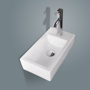 White Porcelain Wall-Hung Corner Ceramic Vessel Sink Small & Chrome Faucet Combo