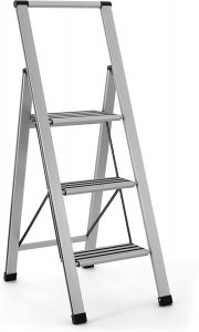 Sorfey Aluminum Folding 3 Step Ladder | 3 step ladder with safety rails