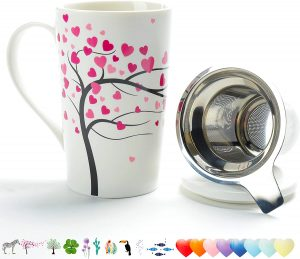 Home Teapot Set with Steel Steeper, Tea-Mug Brewer Marker, Steeping Filter for Loose Leave Tea Gift