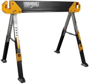 Adjustable folding sawhorse