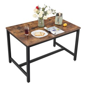 VASAGLE ALINRU Dining Table for 4 People, Kitchen Table, 47.2 x 29.5 x 29.5 Inches, Heavy Duty Metal Frame, Industrial Style, for Living Room, Dining Room, Rustic Brown UKDT