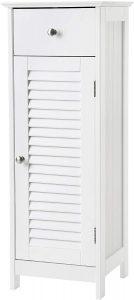 VASAGLE Bathroom Floor Cabinet Storage Organizer Set with Drawer and Single Shutter Door Wooden White