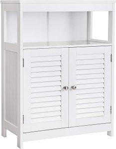 VASAGLE Bathroom Storage Floor Cabinet Free Standing with Double Shutter Door and Adjustable Shelf White