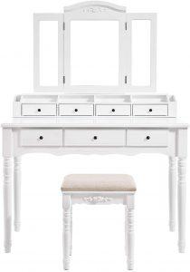 VASAGLE Vanity Set, Tri-Folding Necklace Hooked Mirror, 7 Drawers, 6 Organizers Makeup Dressing Table