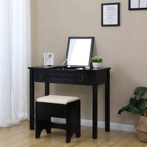 VASAGLE Vanity Set with Flip Top Mirror Makeup Dressing Table Writing Desk