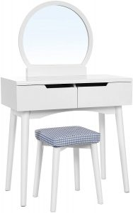 VASAGLE Vanity Table Set with Round Mirror 2 Large Drawers with Sliding Rails Makeup Dressing Table with Cushioned Stool, White