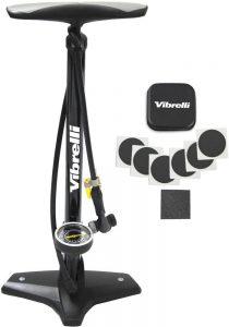 Vibrelli Bike Floor Pump with Gauge in black